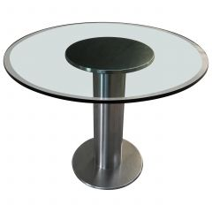 Mid-Century Modern Italian Chrome Dining or Side Table with Glass Top, 1970s