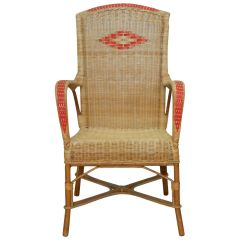 Midcentury Rattan Armchair Woven Wicker Chair French, circa 1960