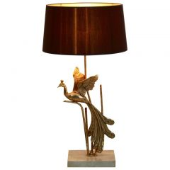 1970s Sculptural Gilt Metal and Travertine Peacock Table Lamp
