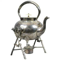 Antique Spirit Kettle on Stand, Decorative, Silver Plated, Tea Pot