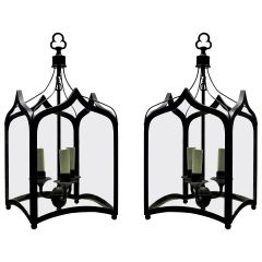 Pair of English Gothic Hanging Lanterns