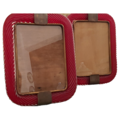 Pair of red Barovier & Toso photoframes