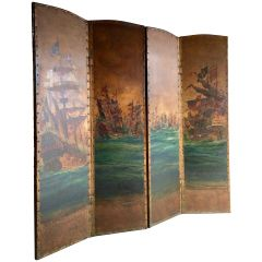 Antique Leather Four Fold Screen Hand-Painted Naval Interest, Early 20th Century