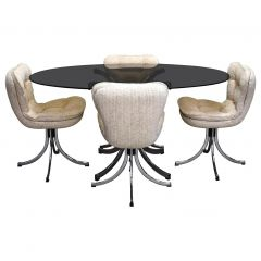 Oval Italian Dining Set in Chrome, Smoked Glass and Bouclé Fabric, circa 1970
