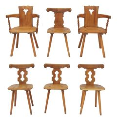 Vintage Mid-Century Alpine Chalet Style Seating Two Carvers Four Chairs And A Stool