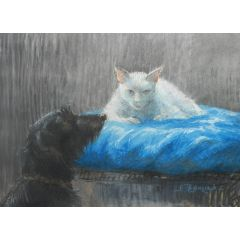 Cat and Dog Chalk Drawing signed E Thomas mid centuryc1950-60