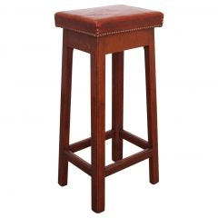 High Stool Leather Top Breakfast Bar Stool, French, circa 1970