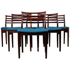 1961s Stunning Set Of Six Dining Chairs By Erling Torvits