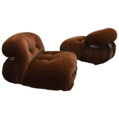 Pair of Soriana Chairs in Brown Mohair Velvet by Afra & Tobia Scarpa for Cassina