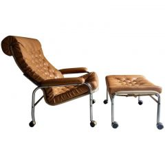 1970s Bore Lounge Chair and Footstool Leather by Noboru Nakamura for IKEA