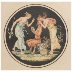 Engraving Pan and Nymphs Allegorical French Print after Jean Guillaume Moitte
