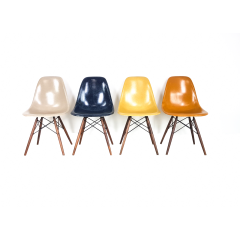 Eames Herman Miller Dsw Side Chairs In Ochres And Navy Blue