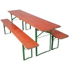 VINTAGE GERMAN BEER TABLE AND BENCHES ORANGE