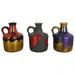 Set of 3 Original 1970 Ceramic Studio Pottery Vase by Marei Ceramics, Germany
