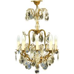 French Antique Birdcage Chandelier Crystal Drops Gilded Brass C1910