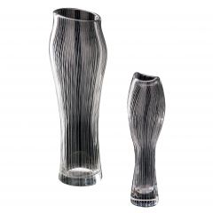 Pair of 1950s Line Etched Vases Art Glass by Tapio Wirkkala, Iittala Oy Finland