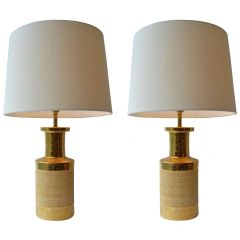 Pair of Gold and Stoneware Ceramic Italian Table Lamps by Bitossi