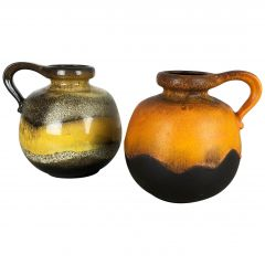 "Set of Two Pottery Fat Lava Vases model ""484-21"" Made by Scheurich Germany 1970s"