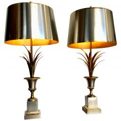"""Pair of Orignal Maison Charles """"Rose Vase"""" Lamps with Rare Orignal Shades"""