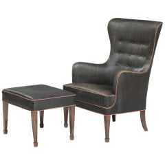 Frits Henningsen Armchair and Stool in Black Horsehair with Red Piping