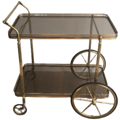NEOCLASSICAL BRASS DRINKS TROLLEY. FRENCH