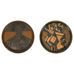 Pair of Cubist Ceramic Wall Plates, by Noguera