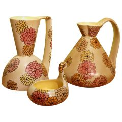 Lenci Italian Art Deco Ceramic Jug, Pitcher and Tray Set with Floral Patterns