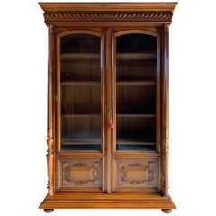 Antique Bookcase Vitrine French Solid Walnut 19th Century circa 1890 Number 3