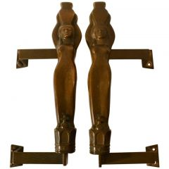 Pair of Large Water Nymphe Bronze Push and Pull Door Handles