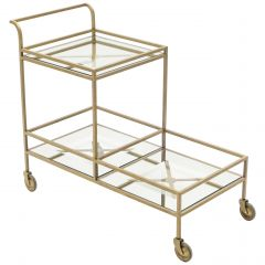 Jean Royère Serving Trolley Gilded Metal Mirrored Glass, 1950