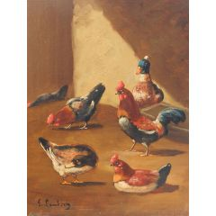 Unknown French Farmyard Oil Painting signed Lambert Ducks Chickens French 19th century 19th century