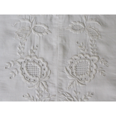 Bolsters - Antique French White on White Embroidery on Linen Bolster by Charlotte Casadéjus