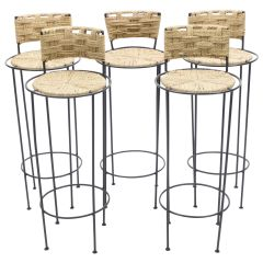 Set of 5 French Bar Stools Rope and Metal by Audoux Minet, 1950s