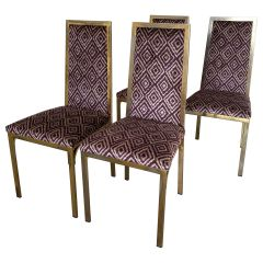 Mid-Century Modern French Set of 4 Pierre Cardin Gilt Metal Chairs, 1970s