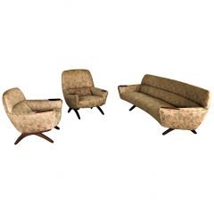 1960s Refinished Teak Lounge Set by Leif Hansen for Kronen, Inc. Reupholstery