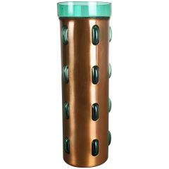Cylindrical Vase in Green Glass and Copper by Nanny Still for RAAK, 1970s