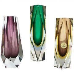 Rare Set of 3 Faceted Murano Glass Sommerso Vases, Italy, 1970s