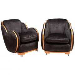 Pair of Art Deco Cloud Back Armchairs by Harry & Lou Epstein