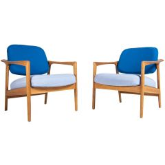 Folke Ohlsson Armchairs in Oak & Wool, Swedish 1950's