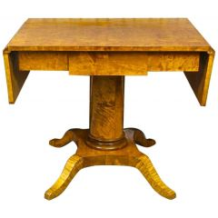 Swedish Biedermeier Antique Drop-Leaf Pedestal Table Golden Birch Tiger Stripe