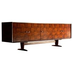 Guiseppe Scapinelli Jacaranda Rosewood Patchwork Credenza Sideboard Brazil 1950s