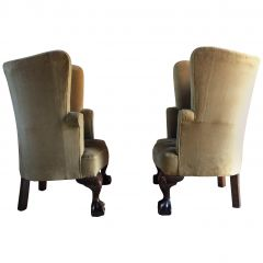 Antique Barrel Back Armchairs Porters Chairs Pair, George II Style, circa 1860