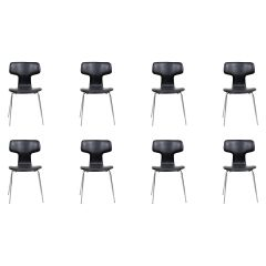 1960s Arne Jacobsen Set of Eight T Chairs or Hammer Chairs by Fritz Hansen