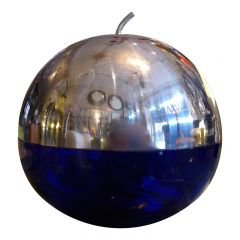 French Modern Chrome and Blue Glass Apple Dish