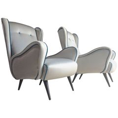 Italian Armchairs Lounge Chairs 1950s Vintage Midcentury Blue Upholstered