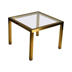 Postmodern Minimalist Brass Frame Coffee Table