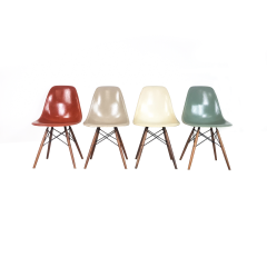 Eames Herman Miller Dsw Side Chairs In Terracotta, Seafoam Green, Light Greige And Parchment