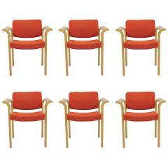1970s Rud Thygesen and Johnny Sorensen Set of Six Conference Armchairs