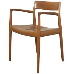 1960s Teak Armchair Model 77 with Original Leather Seat Niels O. Möller, Denmark