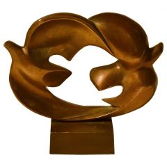 Pair of Doves Sculpture Cast Bronze, French by Coutelle, 1960s